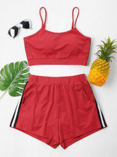 Contrast Cami Top And Shorts Set - Fire Engine Red Xl