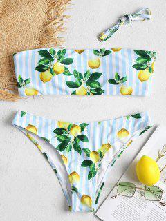 Lemon Striped Bandeau Bikini Set - Light Blue M