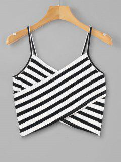 Striped Overlap Cami Top - Black M