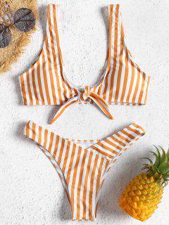 Vorderer Knoten Gestreifter Bikini-Set - Goldgelb L