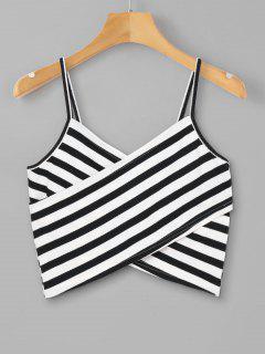 Striped Overlap Cami Top - Black L