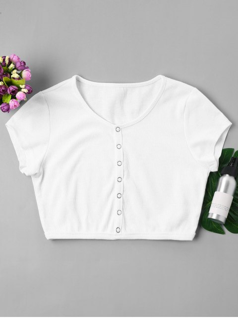 affordable Snap Button Crop Tee - WHITE S Mobile