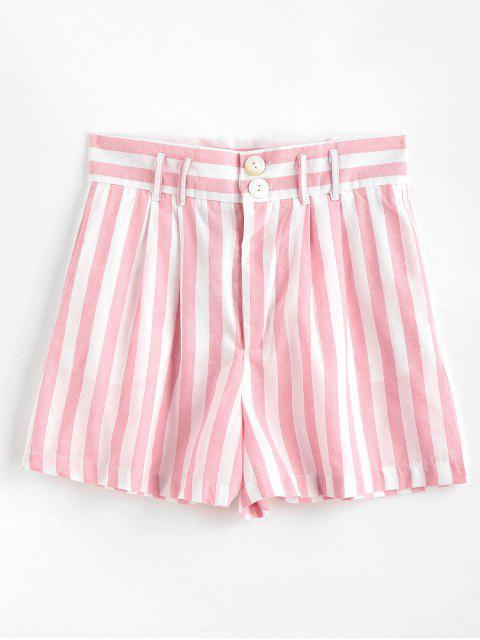 Seitliche Taschen Gestreifte Hoch Taillierte Shorts - Helles Rosa M Mobile