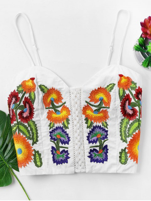 womens Embroidered Cami Top - WHITE XL Mobile