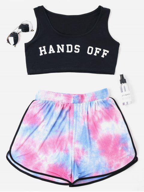 Plus Größe Riemchen Färbung Shorts Set - Schwarz 4X Mobile