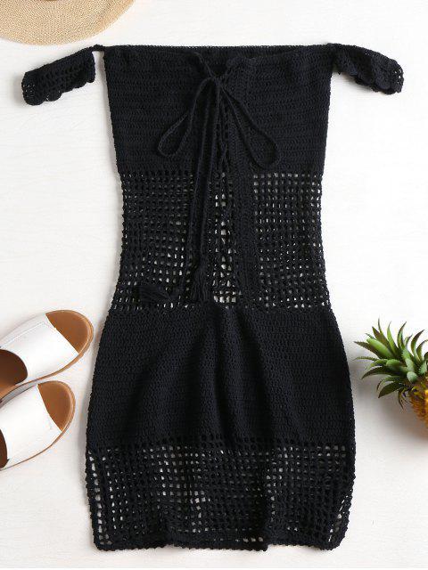 Robe Cache Haut Tricoté et à Epaules Dénudées - Noir Taille Unique Mobile