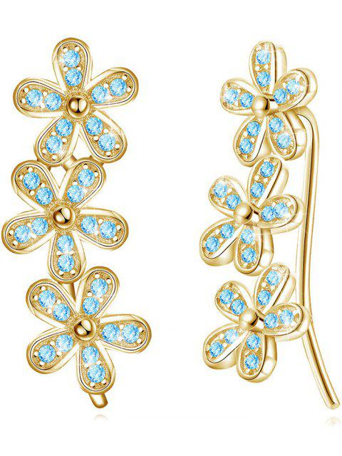 chic Colored Crystal Floral Wedding Drop Earrings - BLUE LAGOON  Mobile