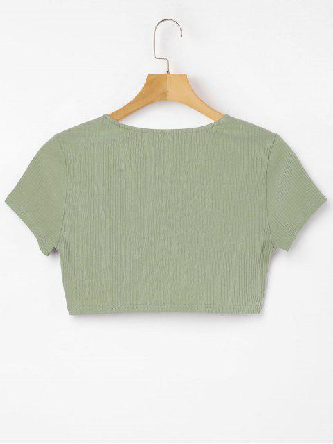 sale Plunging Neck Twisted Tee - IGUANA GREEN XL Mobile