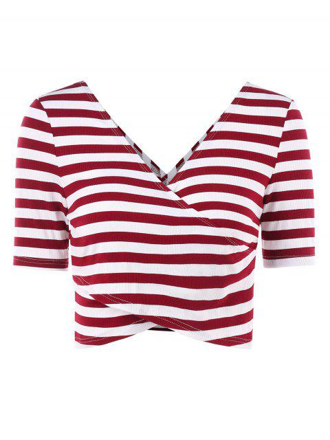 Camiseta Stripes Plunge Wrap - Vino Tinto L Mobile
