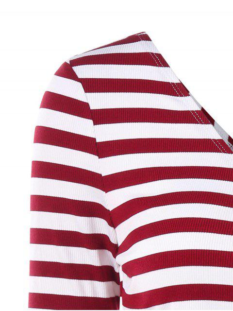women's Stripes Plunge Wrap Tee - RED WINE L Mobile