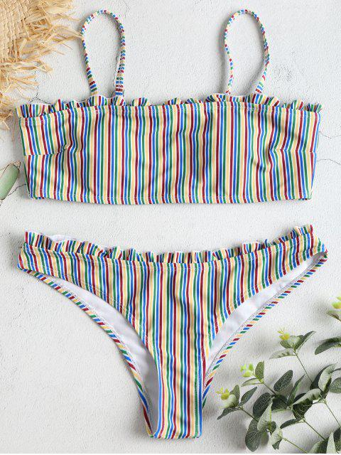 Ensemble de Bikini Rayé Coloré Plissé - Multi-A M Mobile