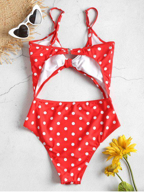 outfit Cut Out High Leg Polka Dot Swimsuit - RED M Mobile