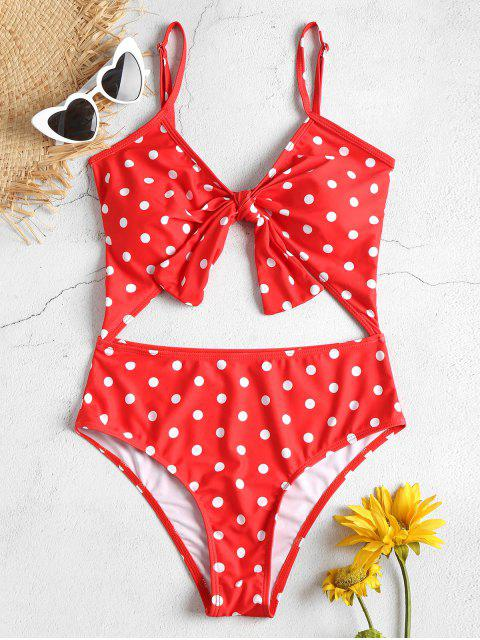 outfits Cut Out High Leg Polka Dot Swimsuit - RED L Mobile