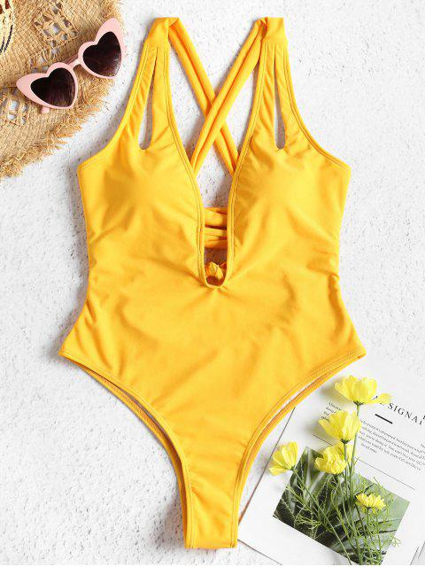 hot High Cut Cross Back One-piece Swimsuit - RUBBER DUCKY YELLOW S Mobile
