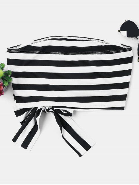 lady Knotted Striped Tube Top - BLACK XL Mobile