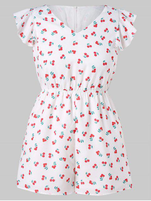 latest Butterfly Sleeve Plus Size Cherry Print Romper - WHITE L Mobile