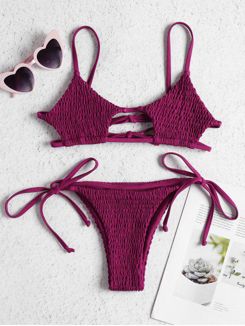 women's ZAFUL Keyhole Smocked String Bikini - BASHFUL PINK L Mobile