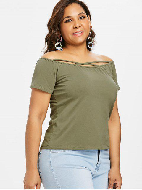 fancy Cross Strap Off Shoulder Plus Size Tee - ARMY GREEN L Mobile
