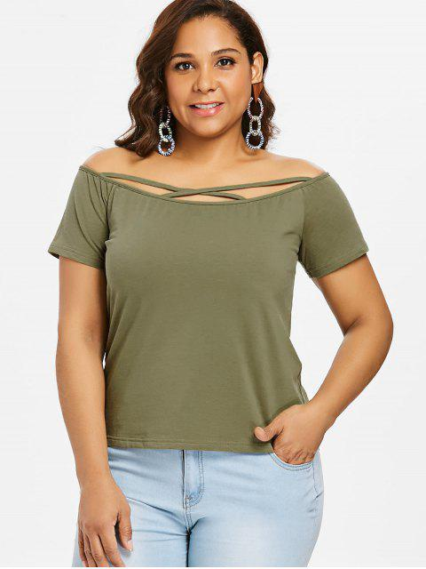 lady Cross Strap Off Shoulder Plus Size Tee - ARMY GREEN 1X Mobile