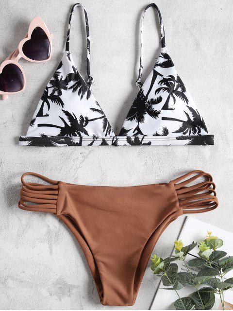 ladies Coco Palm Print Ladder Cut Bikini Set - RUST S Mobile