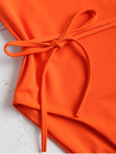 trendy Belted One Shoulder One-piece Swimsuit - ORANGE L Mobile