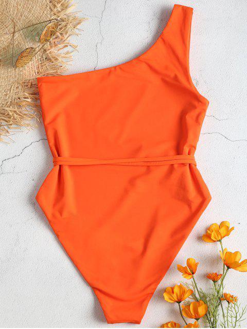 С поясом Одно плечо Слитный Купальник - Оранжевый M Mobile
