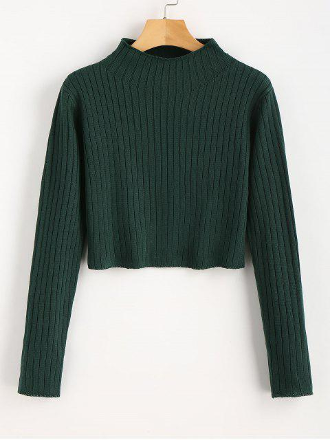 fashion Mock Neck Ribbed Sweater - DEEP GREEN S Mobile