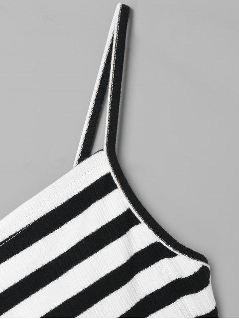 best Striped Overlap Cami Top - BLACK L Mobile