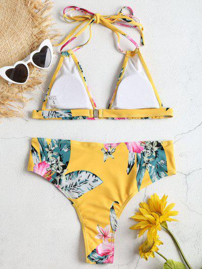 High Leg Florals Halter Bikini Set, Bright yellow