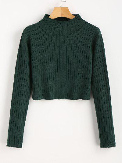 Mock Neck Ribbed Sweater - Deep Green M