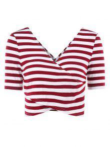 Stripes يغرق التفاف المحملة - نبيذ احمر L