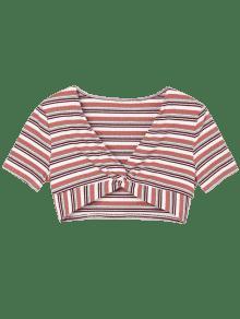 Claro Rosa De Rayas Bajo L Rayas De Camiseta Con Corte PWwOSq8x10