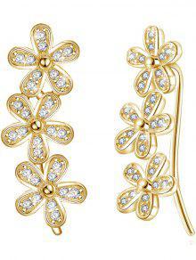 الاقراط عشيق الزهور الملونة كريستال عرس - الشمبانيا الذهب