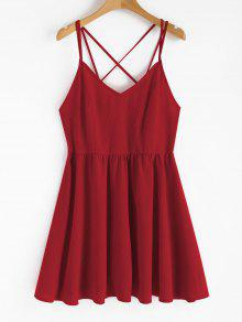 عارية الذراعين كامي فستان الشمس - الحب الاحمر L