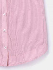 Abotonado De Vestido Claro Rosa A Rayas Bolsillo L 5r5v4W