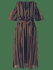 Grandes Vestido L Maxi Multicolor Hombros Con Descubiertos Rayas A Tallas Y F8qxgwFr