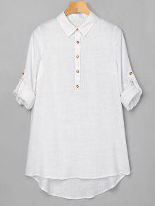 نصف زر ارتفاع منخفض اللباس - أبيض Xl