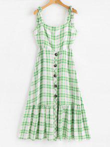Tartan Print Tie الكتف زر ميدي اللباس - أخضر L