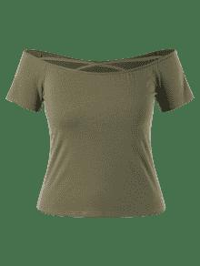 Grandes L Extra Tirantes Tirantes Cruzados Ejercito Con De Verde Camiseta wfzxYP