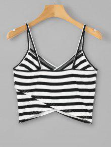 Top Overlap Cami M Negro Striped 0XTxqX
