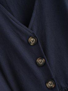 A Vestido Con M Profundo Azul Botones Pierna Frente Flojos El Media En gqrwqxdP4f