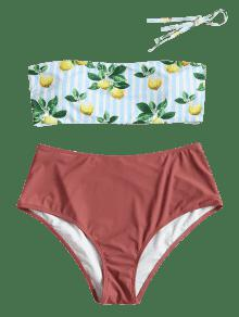 Rayas 243;n De Estampado Lim Bikini Alta Con De Finch De Rosa Cintura 2x 0IwwgqxzY