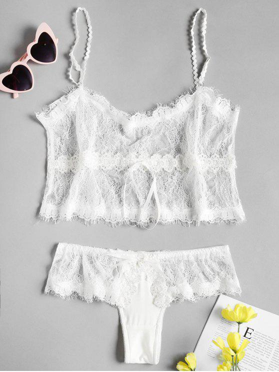 hot Waist Drawstring Lace Camis and Panties - WHITE ONE SIZE