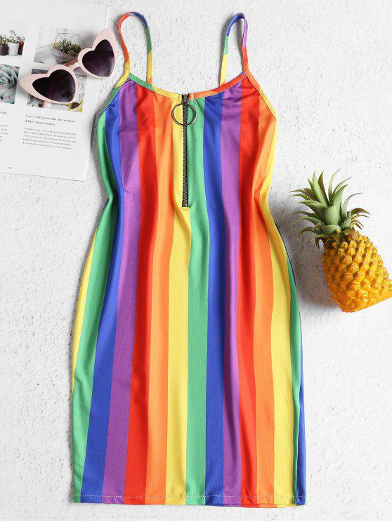 Rainbow Stripe Jersey Cami Mini Dress - متعدد L