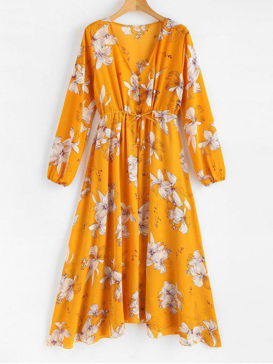 sale Buttoned Floral Long Sleeve Dress - BEE YELLOW L