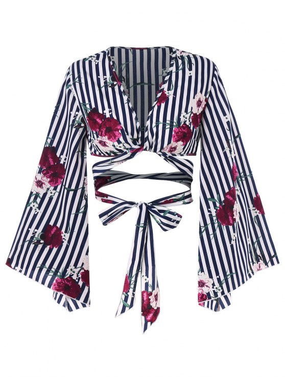 latest Floral Striped Wrap Blouse - MIDNIGHT BLUE S