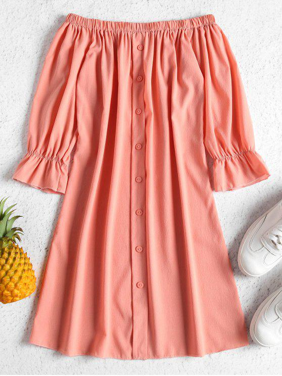 latest Buttons Off Shoulder Casual Dress - ORANGE PINK M