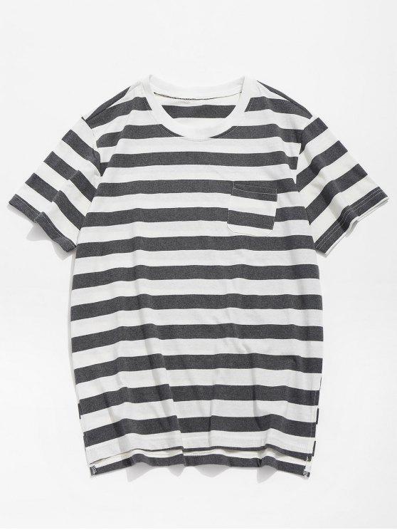 Camiseta de bolsillo dobladillo dividido a rayas - Gris S