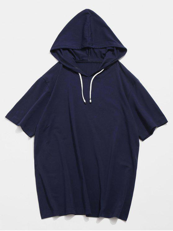 best Drawstring Short Sleeve Hooded T-shirt - DEEP BLUE S