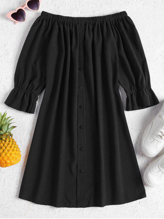 Robe Boutonnée et Décontractée à Epaules Dénudées - Noir L